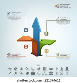 Abstract infographic illustration with three arrows. Vector components for web, brochure, presentation, seminar template and business.
