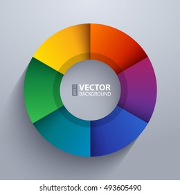 Abstract infographic rainbow sectors 3d circle wheel shape 6 options chart on grey background. RGB EPS 10 vector illustration