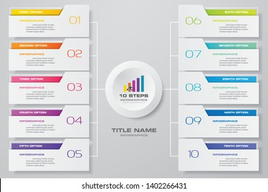 Abstract Infographics 10 steps banner design elements. 10 step layout template. EPS10.