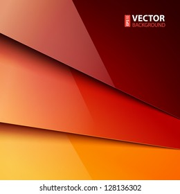Abstract infographics background with red and orange shiny paper layers. RGB EPS 10 vector illustration