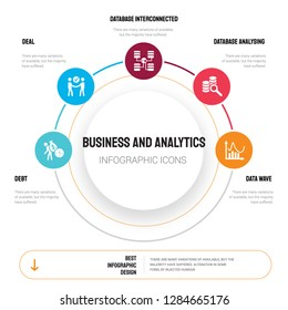 Abstract infographics of business and analytics template. Debt, Deal, Database Interconnected icons can be used for workflow layout, diagram, step options, banner, web design.