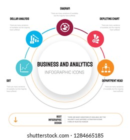 Abstract infographics of business and analytics template. Dot, Dollar analysis bars, Diagram, Depleting chart icons can be used for workflow layout, diagram, step options, banner, web design.