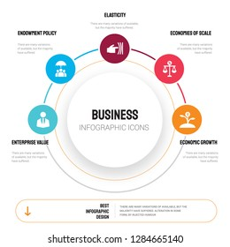 Abstract infographics of business template. Enterprise value, Endowment policy, Elasticity icons can be used for workflow layout, diagram, step options, banner, web design.