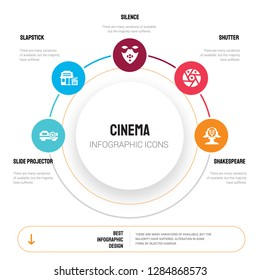 Abstract infographics of cinema template. slide projector, slapstick, Silence, Shutter, Shakespeare icons can be used for workflow layout, diagram, business step options, banner, web design.
