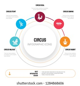 Abstract infographics of circus template. walrus, Circus stunt, Seal, Sawing icons can be used for workflow layout, diagram, business step options, banner, web design.