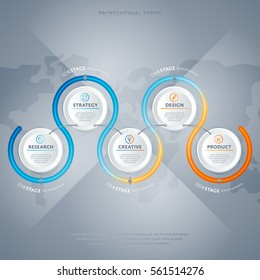 Abstract infographics concept set vector illustration. Data visualization, step process chart, product development stage, info diagram elements. Infographics analytics, bar and timeline elements.