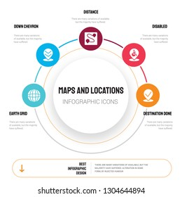 Abstract infographics of maps and locations template. Earth grid, Down chevron, Distance, Disabled icons can be used for workflow layout, diagram, business step options, banner, web design.