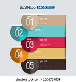 Abstract infographics number options template. business step options