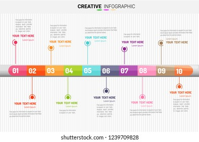 Abstract infographics number options template with steps, with 10 label. Can be used for workflow layout, diagram, business step options, banner, web design.