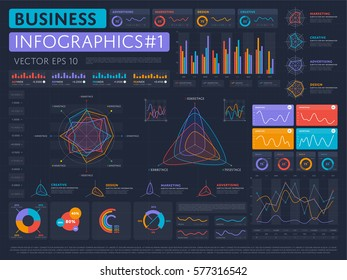 Abstract infographics set with different diagram vector. Data visualization elements, marketing infographics charts and graphs. Web site and presentation template business infographics data.