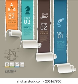 Abstract infographics template torn paper style. Vector illustration. can be used for workflow layout, diagram, number options, step up options, banner, web design