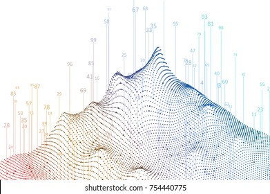 Abstract infographics visualization. Big data code representation. Futuristic network or business analytics. Graphic concept for your design.