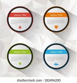 Abstract inforgraphics option buttons set with polygonal background. Vector illustration.