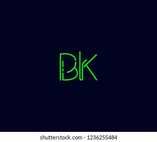 Abstract Initial BK Letter with Flat Linear Neon Style Retro Logotype