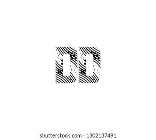 Abstract Initial DD Letter with Wavy Dots Pattern Vector Logo