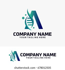 Abstract A Initial and DNA Logo Design Template