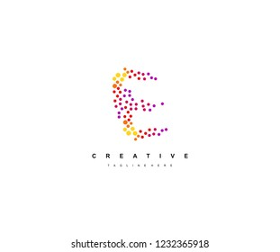 Abstract Initial E Letter Trendy Gradation Techno Dots Circle Logotype