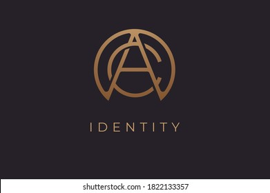 Abstract initial letter C and A logo,usable for branding and business logos, Flat Logo Design Template, vector illustration