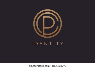 Abstract initial letter C and P logo,usable for branding and business logos, Flat Logo Design Template, vector illustration