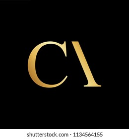 Abstract initial letter CA AC. minimal awesome trendy professional logo design template. Vector letter logo with gold and black color.