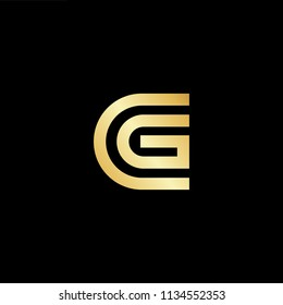 Abstract initial letter CG GC. minimal awesome trendy professional logo design template. Vector letter logo with gold and black color.