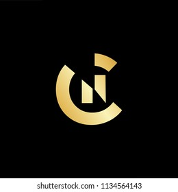 Abstract initial letter CN NC. minimal awesome trendy professional logo design template. Vector letter logo with gold and black color.
