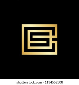 Abstract initial letter CS SC. minimal awesome trendy professional logo design template. Vector letter logo with gold and black color.