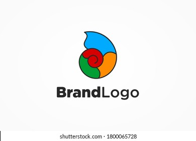 Abstract Initial Letter D Logo. Colorful Spiral Shape Snail Icon isolated on White Background. Usable for Business and Branding Logos. Flat Vector Logo Design Template Element