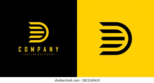 Abstract Initial Letter D Logo. Black and Yellow Geometric Linear Arrow Style isolated on Double Background. Usable for Business and Technology Logos. Flat Vector Logo Design Template Element.