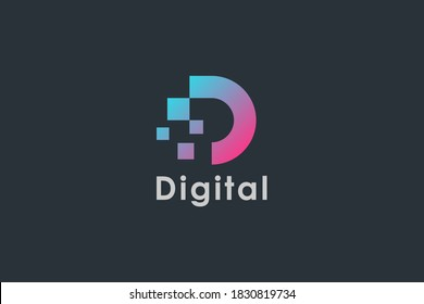 Abstract Initial Letter D Logo. Blue and Red Geometric Shape with Square Pixel Dots isolated on Black Background. Usable for Business and Technology Logos. Flat Vector Logo Design Template Element.