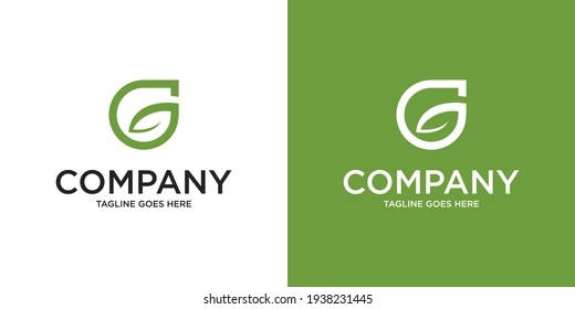 Abstract Initial Letter G and leaf Logo. green color isolated on White and green Background. Usable for Business and Branding Logos. Flat Vector Logo Design Template Element.