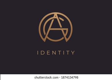 Abstract initial letter A and G logo, usable for branding and business logos, Flat Logo Design Template, vector illustration