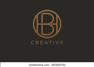 Abstract initial letter H and B logo,usable for branding and business logos, Flat Logo Design Template, vector illustration