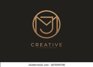 Abstract initial letter J and M logo,usable for branding and business logos, Flat Logo Design Template, vector illustration