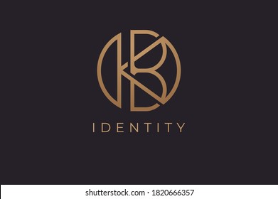 Abstract initial letter K and B logo,usable for branding and business logos, Flat Logo Design Template, vector illustration