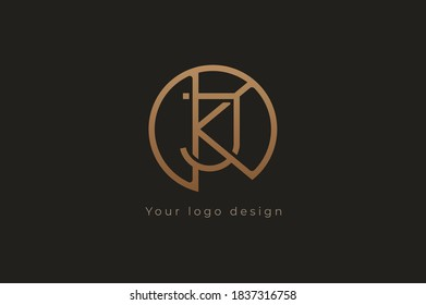 Abstract initial letter K and J logo, usable for branding and business logos, Flat Logo Design Template, vector illustration