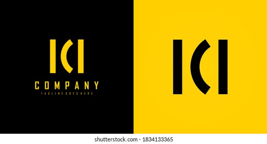 Abstract Initial Letter K and M Linked Logo. Black and Yellow Geometric Shape Style isolated on Double Background. Usable for Business and Branding Logos. Flat Vector Logo Design Template Element.