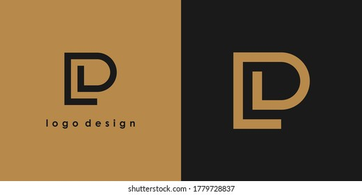 Abstract Initial Letter L and P Linked Logo. Gold Linear Style isolated on Double Background. Usable for Business, Technology and Branding Logos. Flat Vector Logo Design Template Element