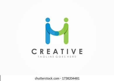 Abstract Initial Letter M Logo. Blue Green Rounded Line Partnership People Symbol Origami Style with Shadow. Flat Vector Logo Design Template Element.