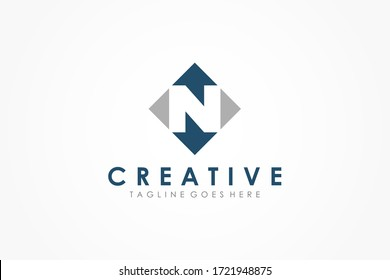 Abstract Initial Letter N Logo. Blue Arrow Up and Arrow Down with Negative Space Letter inside. Usable for Business and Technology Logos. Flat Vector Logo Design Template Element.