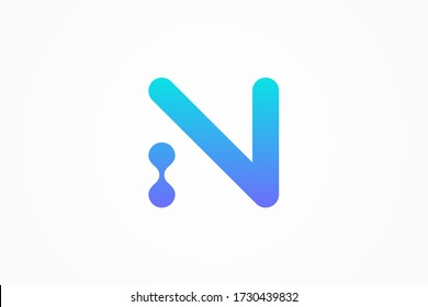 Abstract Initial Letter N Logo. Blue Gradient Linear Rounded Style with Connected Liquid Dots . Usable for Business, Science and Technology Logos. Flat Vector Logo Design Template Element.