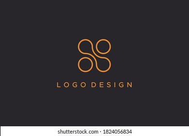 Abstract Initial Letter N Logo. Gold Outline Circle Shapes Dot Liquid isolated on Black Background. Usable for Business and Technology Logos. Flat Vector Logo Design Template Element.
