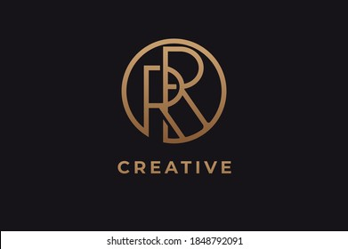 Abstract initial letter R and R logo,usable for branding and business logos, Flat Logo Design Template, vector illustration