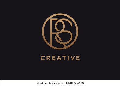 Abstract initial letter R and S logo,usable for branding and business logos, Flat Logo Design Template, vector illustration