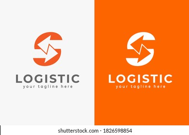 Abstract Initial letter S Logistic Logo, arrow and letter S combination, design logo template, vector illustration