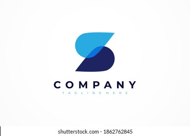 Abstract Initial Letter S Logo. Blue Overlay Double Water Drops isolated on White Background. Usable for Business, Healthcare, Medical and Nature Logos. Flat Vector Logo Design Template Element.