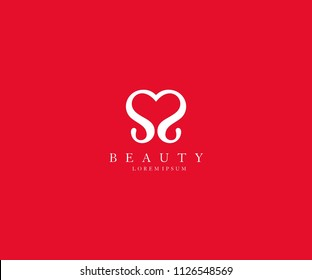 Abstract Initial Letter SS Love Heart Logo