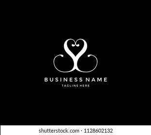 Abstract Initial Letter SS Love Logo