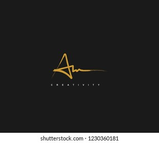 Abstract Initial A Letter or Star Brush Stroke Signature Logotype