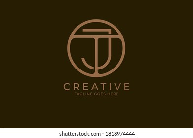 Abstract initial letter T and J logo,usable for branding and business logos, Flat Logo Design Template, vector illustration